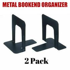 Metal Library Bookends Book Support Organizer Nonskid Heavy Gauge Steel Black