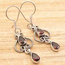 """GARNET 2 Stone Earrings 1.8"""" ! Silver Plated Artwork Jewelry"""