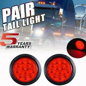 "4"" Red Round LED Truck RV Trailer Tail Lights Turn Stop Brake Lamp For Kenworth"