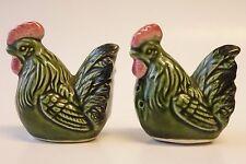 VINTAGE SALT AND PEPPER SHAKERS GREEN CHICKEN HEN ROOSTER BIRD FIGURES