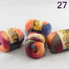4balls Chunky Colorful Hand Knitting Scores Wool Yarn Blue Orange Yellow Purple