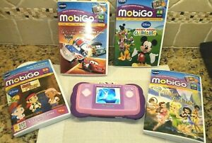 Pink VTech MOBIGO Handheld Touch Learning Video Game System & Disney Games Lot