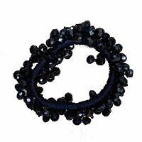Navy Blue Faceted Glass Bead Scrunchie Hair Bobble