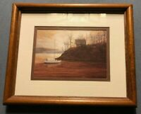 Framed and Matted Picture of Boat on Water