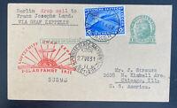 1931 Germany Graf Zeppelin LZ 127 Polar Flight  PC Cover To Chicago IL Usa Sc#41