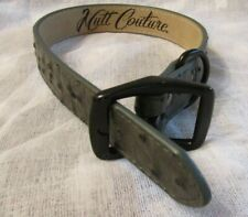 """NWT MUTT COUTURE LEATHER PET COLLAR *GREY OSTRICH* SZ 12""""-15"""" (18.5"""" L)"""