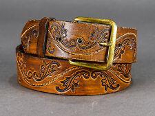 "Vintage Brown Embossed Leather Western Belt Size 30 - 1 3/8"" Wide"