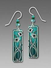 Adajio Earrings Graduate Teal Column With Aqua Daisies Overlay Handmade in USA