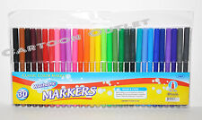 30 Pc Markers Classic Brilliant Assorted Washable Markers Fine Tip Bazic Art Set