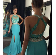 Turquoise Mermaid Evening Gowns Prom Bridesmaid Dresses Formal Party Dress
