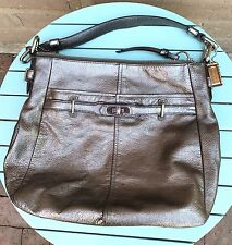 Coach Chelsea Silver Pewter Metallic Leather Shoulder Bag