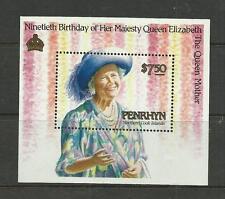 COOK ISLANDS -  PENRHYN 1990  Queen Mothers 90th Birthday umm / mnh min sheet