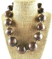 Necklace Wood Ball  Bead Round Disk Oval  Gold Tone Metal Connectors Chunky