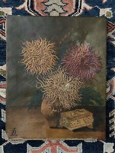 Antique Post Impressionist Chrysanthemum Still Life Painting Signed