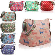 Matte Oil Cloth Polka Dot Kitty Cat Dog Flower Floral Cross Body Messenger Bag
