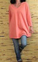 NEW J. JILL L Tall V-neck 3/4 Buttoned Sleeve Knit Tunic Top Cotton/Modal Salmon