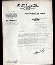 "TOURS (37) LAMPES & RADIO T.S.F.  ""PHILIPS"" en 1930"