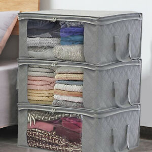 3PCS Underbed Clothes Storage Bags Ziped Organizer Wardrobe Cube Closet Boxes
