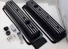SB Chevy SBC Black Finned Center Bolt Aluminum Valve Cover Kit 305 350 1987-1995