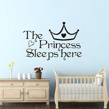 """Sticker Mural Autocollant """" The Princess Sleeps Here """" Déco Salon Chambre Cadeau"""