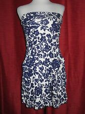 GAP Women's Navy/Off White Floral Cotton/Modal Strapless Dress w/Pockets S