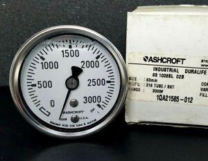 Ashcroft 63mm 1008SL 02B 3000# Glycerine Filled Stainless Steel Gauge 3000psi