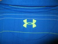 UNDER ARMOUR Men's Medium Blue w/ Green Logo Striped Athletic Polo Shirt