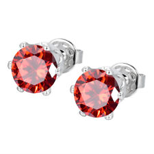 White Gold Filled  Women Men Round MYSTICAL Topaz Zircon CZ Stud Earrings