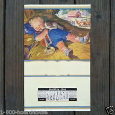 Vintage Original LITTLE BOY BLUE Promotional Store Calendar 1946 Full Pad