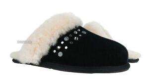 UGG Scuffette II Studded Bling Black Fur Slippers Womens Size 11 *NIB*