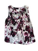 Ann Taylor Loft Pretty Womens Purple Voilet Floral Ruffle Sleeveless Top MP PM
