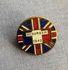 Free French Resurgam 1940 British Union Jack Flag supporter lapel badge