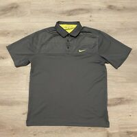 Nike Golf Short Sleeve Golf Polo Shirt Size Large Fit Dri-Fit Men's Gray/Yellow