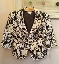 NWT Talbots Ladies Brown Ivory Floral Blazer Jacket Career Lined Size 12W $202