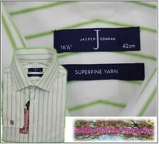 "JASPER CONRAN FRENCH CUFF MANS LONG SLEEVE SHIRT COLLAR 16.5"" GREEN STRIPE"