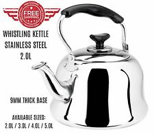 Stainless Steel Whistling Tea kettle Teapot Cookware Silver Tone 2L