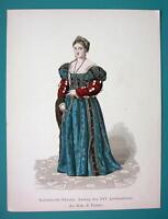 COSTUME Fashion Italian Princess Titian's Belle - 1880s Color Antique Print
