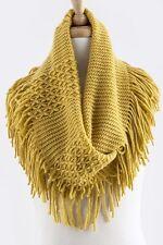B93 Long Fringe Knit Mustard Yellow Infinity Scarf