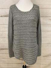 Helmut Lang Gray Sweater Chunky Open Knit Wool Cashmere Asymmetric Size L