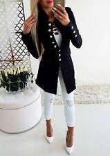 Damen Anzugjacke Business Freizeitblazer Langarm Sakko mit Knopf Langgröße Coat