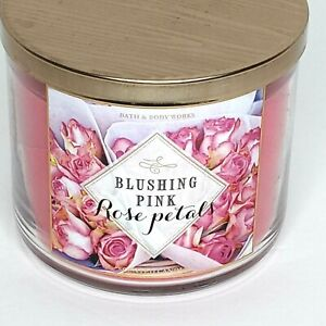Bath & Body Works Blushing Pink Rose Petals 3 Wick Candle 14.5 oz Floral
