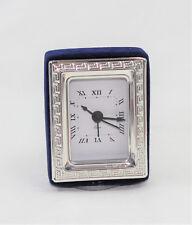 Orologio con Sveglia da tavolo in Argento 925 e Velluto Blu