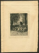 c1870 Original Etching Antique Barbizon Print after C. Troyon by La Guillermie