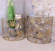 Gold Leaf Side Tables Set Of 2 Half Moon Hallway Console Lamp End Units Modern