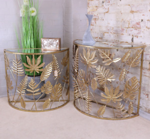 Gold Leaf Side Tables Set Of 2 Half Moon Hallway Console Lamp End Units Modern