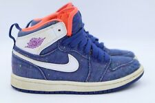 705321-411 Jordan Little Kids Jordan 1 Retro GP   Blue Denim Pink Girls Size 13c