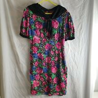 Vintage Women's Pink Rose Floral 100% Silk Midi Crepes Suzette Dress Size M