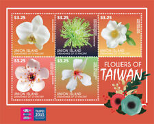 UNION ISLAND 2015 - TAIPEI STAMP EXPO / FLOWERS OF TAIWAN SHEET OF 5 STAMPS MNH