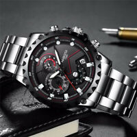 NIBOSI Military Large Face Dial Sports Watches Men's Fashion Quartz Wrist Watch
