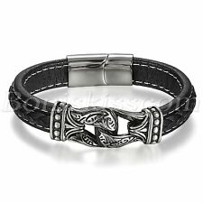 Men's Vintage Totem Stainless Steel Leather Belt Bracelet Cuff Magnetic Buckle